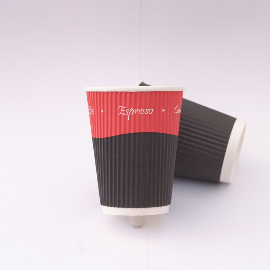 Red and Black Kraft Ripple Cups Image